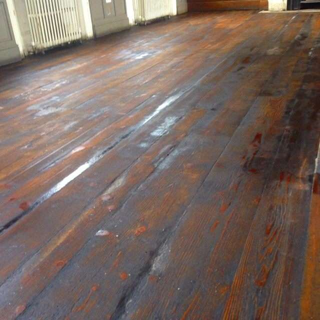 Pub Floor Before Wood Floor Sanding