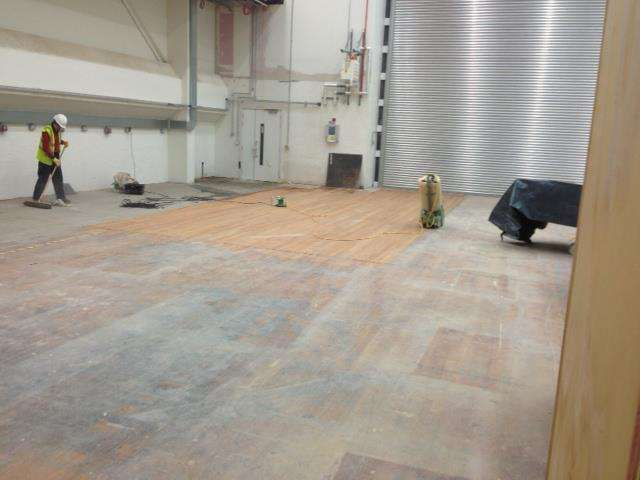 Sanding the Theatre Floor