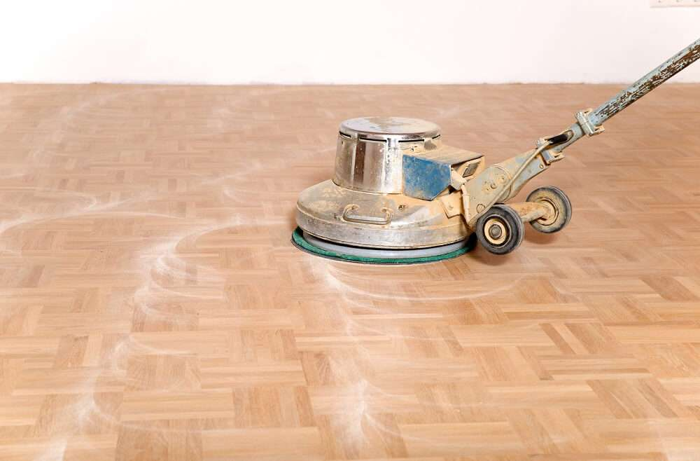 solid wood flooring being refinished